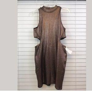TOPSHOP US 8 BROWN GOLDEN PRINT GLITTER MINI DRESS